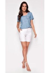 Bermuda Jeans Zait Meia Coxa Color Lisa Feminina - Feminino-Branco