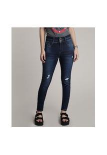 Calça Jeans Feminina Sawary Skinny Com Rasgos E Puídos Azul Escuro