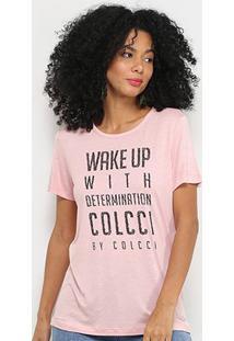 Camiseta Colcci Wake Up Manga Curta Feminina - Feminino-Rosa Bebê