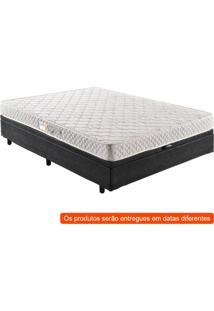 Cama Box Basic Baú Com Colchão Casal Quality Plus D23 Branco E Preta