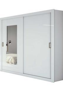 Guarda Roupa Solteiro Com Espelho 2 Portas 3 Gavetas Apoena Branco - Tricae