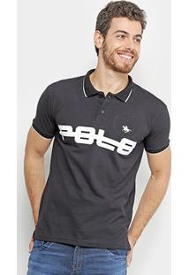 Camisa Polo Polo Rg 518 Piquet Estampada Friso Masculina - Masculino-Preto