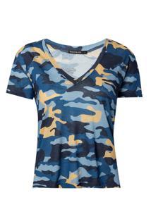 Blusa Le Lis Blanc Camuflada I Malha Estampado Feminina (Camuflado Blue, G)