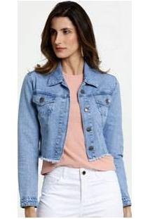 Jaqueta Feminina Cropped Jeans Barra Desfiada Gups