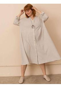 Vestido Chemise Alícia Plus Size Cinza-Gg Cinza