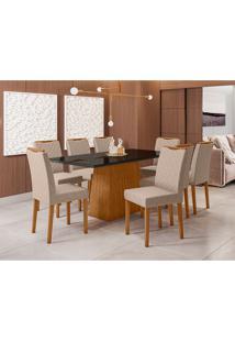 Conjunto De Mesa De Jantar Com Tampo De Vidro Jasmin E 8 Cadeiras Munique Veludo Linho Preto E Cinza