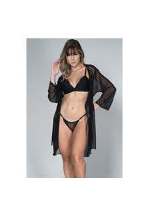 Robe Feminino Tule Com Renda E Conjunto Lingerie Maine Bella Fiore Modas Preto