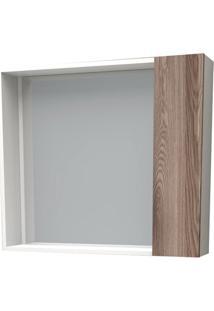 Espelheira Em Mdf Iara 52,4X60Cm Branco E Tamarindo