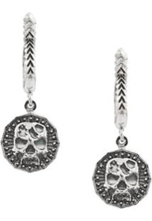 Emanuele Bicocchi Skull Hoop Drop Earrings - Prateado