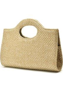 Bolsa De Mão Hendy Bag Tecido Palha Feminina - Feminino-Bege