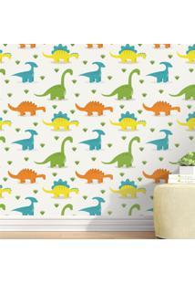 Papel Parede Infantil Dinossauros Coloridos Grão De Gente Amarelo