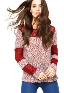 Blusa Manga Longa Clothing & Co. Crochê Vermelha/Branca