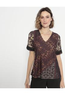 Blusa Animal Print Com Renda- Marrom & Bege- Cotton Cotton Colors Extra