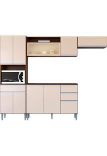Cozinha Compacta 10 Portas E 3 Gaveta C/ Balcão Vanessa-Poquema - Capuccino / Off White