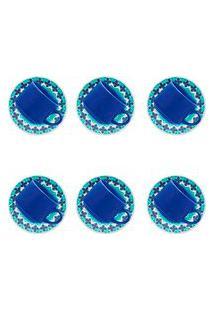 Conjunto 6 Xícaras Biona Lola Com Pires Cerâmica 200Ml Azul