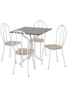 Conjunto De Mesa Thais Com 4 Cadeiras Branca Rattan