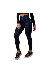 Calça Feminina Pit Bull Jeans 40548 Azul Cintura Super Alta