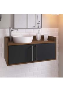 Gabinete Para Banheiro 2 Portas Baruc Estilare Móveis Preto/Madeirado
