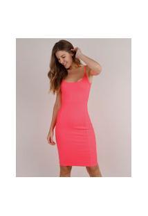 Vestido Feminino Curto Canelado Alça Fina Rosa Neon