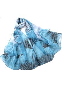 Lenço De Chiffon Artestore Estampado Aquarelado Grande, Echarpe. Xale, Tons De Azul