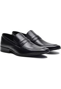 Sapato Social Couro Pórtice Recorte Masculino - Masculino-Preto