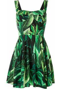 Dolce & Gabbana Tropical Leaf Pattern Cotton Short Bustier Dress - Verde