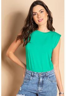 Blusa Verde Com Ombros Estruturados