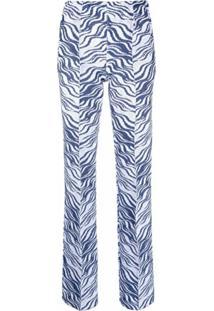 Missoni Calça Cintura Alta Com Estampa De Listras - Azul