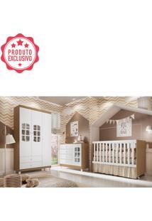 Dormitório Gabi Guarda Roupa 3 Portas Cômoda Berço Gabi Amadeirado Carolina Baby
