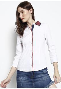 Camisa Com Recortes- Branca & Vermelha- Intensintens