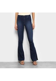Calça Jeans Flare Coffe Cintura Alta Feminina - Feminino