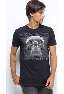 Camiseta Bulldog Fish Foil Bulldog Caveira Masculina - Masculino-Preto