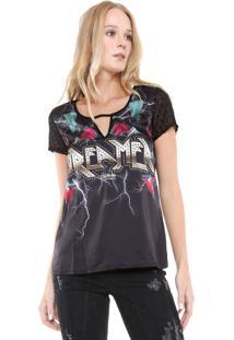Camiseta Triton Cetim Estampada Preta