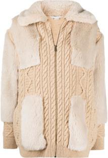 Stella Mccartney Cable-Knit Faux-Fur Cardigan - Neutro