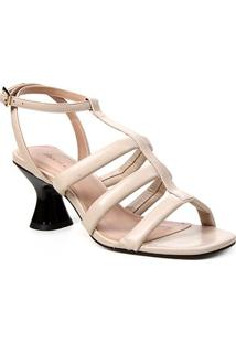 Sandália Couro Shoestock Salto Médio Tiras Feminina - Feminino-Bege
