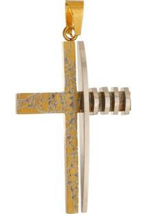 Pingente Cruz Dourada Marmorizada Tudo Joias De Aço Inox - Unissex-Dourado