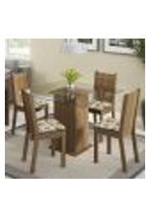 Conjunto Sala De Jantar Madesa Magda Mesa Tampo De Vidro Com 4 Cadeiras