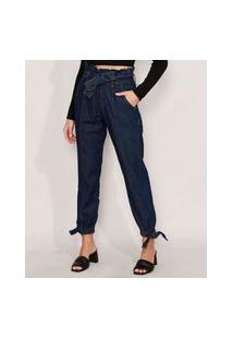 Calça Clochard Jogger Jeans Com Recortes E Faixa Para Amarrar Cintura Super Alta Azul Escuro
