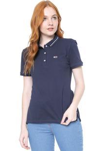 Camisa Polo Tommy Jeans Reta Lisa Azul-Marinho