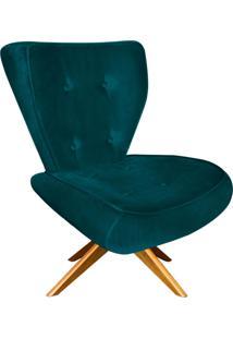 Poltrona Decorativa Tathy Suede Azul Pavão Com Base Giratória De Madeira - D'Rossi