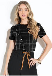 Blusa Xadrez Grid Com Botões Decorativos