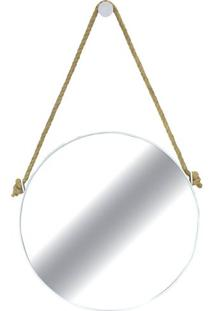 Espelho Redondo Hanoi Prata Com Moldura Branca 75 Cm - 35757 - Sun House