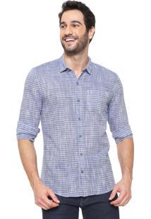 Camisa Calvin Klein Jeans Slim Listrada Azul/Branca
