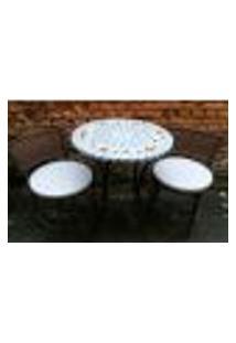 Conjunto De Mesa Com Cadeiras Mosaico Branco E Azul