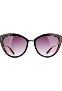 Óculos De Sol Ana Hickmann Tartaruga Feminino - Feminino-Preto