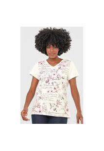 Camiseta Scene Flores Off-White