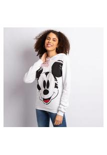 Blusa Moletom Feminino Disney Mickey Branco