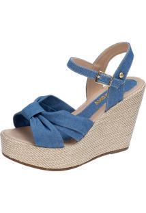 Sandália Anabela Domidona De Laço Com Sola De Juta Jeans Azul