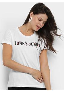 Camiseta Tommy Jeans Flores Feminina - Feminino-Branco