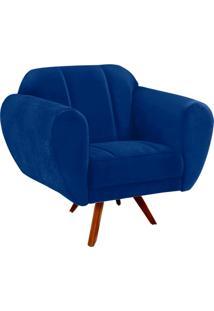 Poltrona D'Rossi Decorativa Melissa Suede Azul Royal Com Base Giratória Madeira